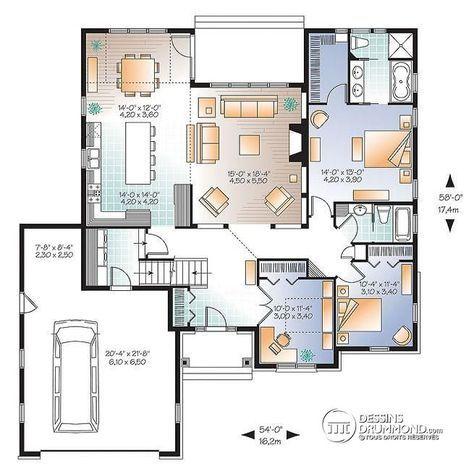 Plan de Rez-de-chaussée Plain-pied 3 chambres, maison économique