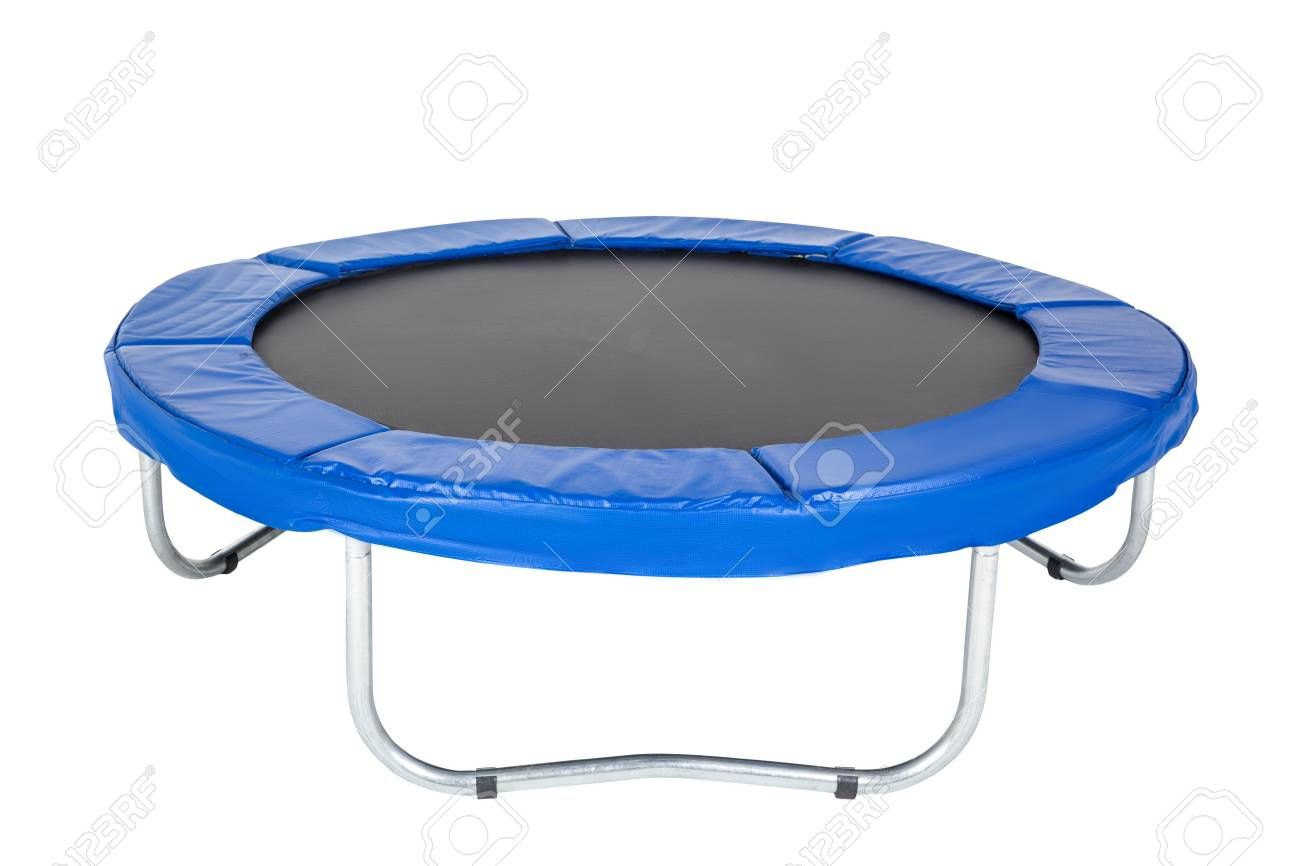 Trampoline for children and adults for fun indoor or outdoor fitness jumping on white background. Bl...