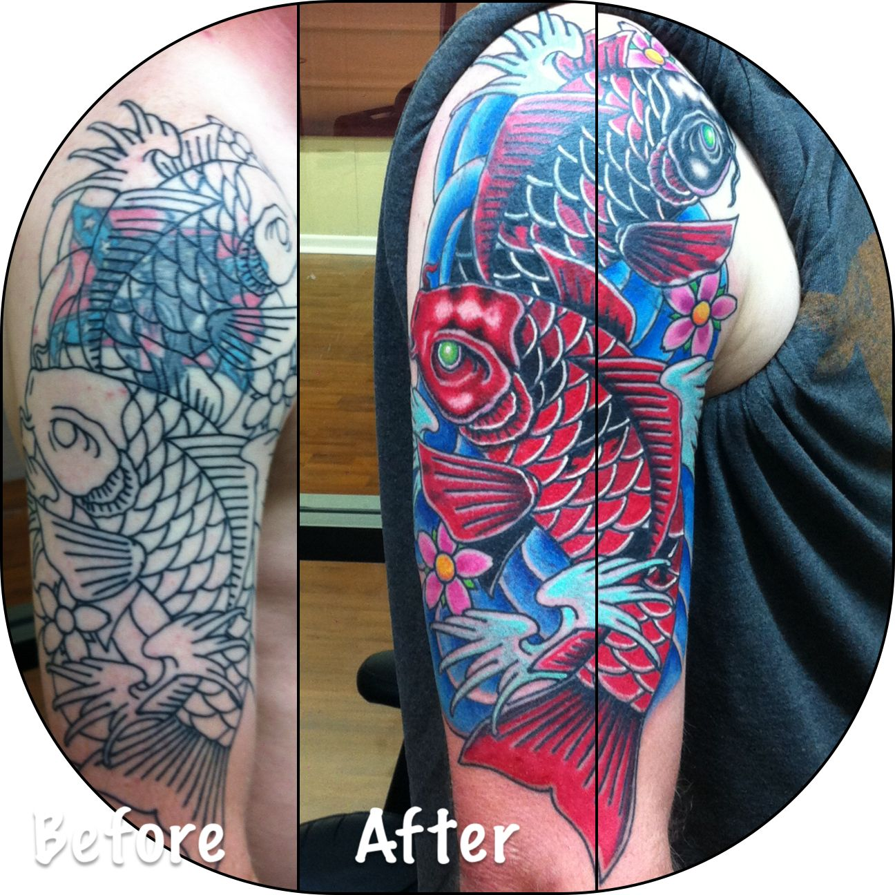 Cover Up With Koi Fish Cover Tattoo Japanese Sleeve Tattoos