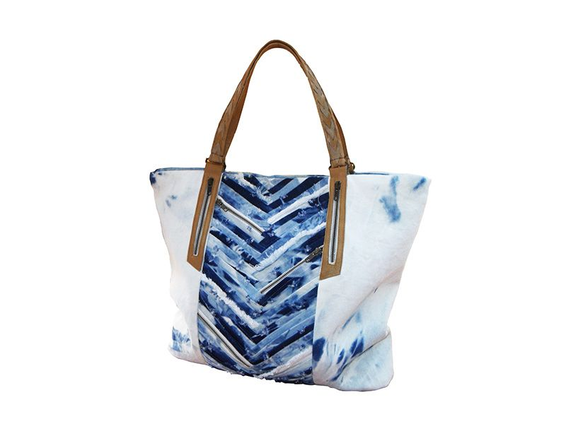 SKY Denim Tote, side view. Available online here: www.tika.moda