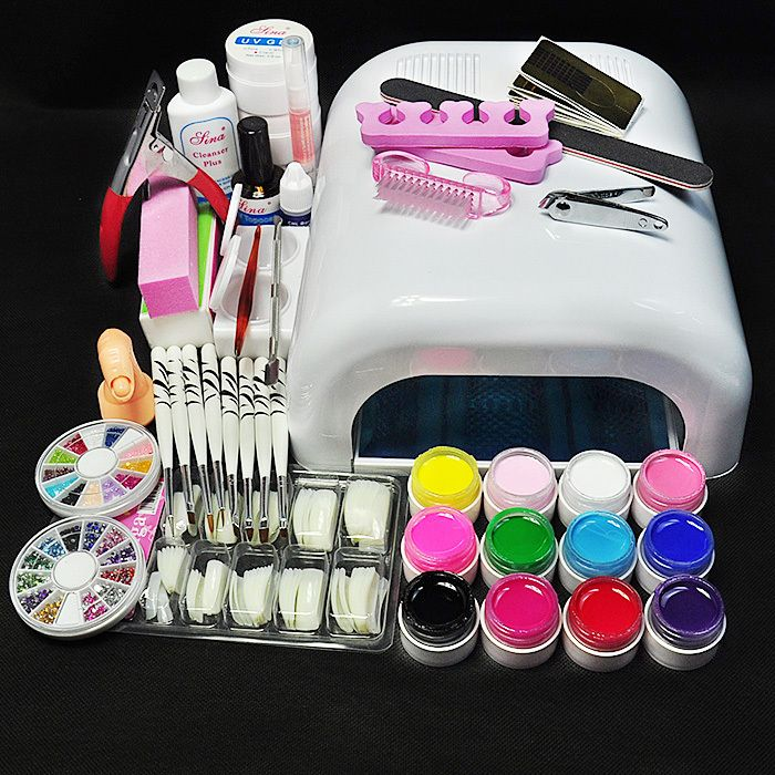 Aliexpress Com Buy Top Quality Acrylic Nail Kit With 36w Uv Lamp And 12 Colors Uv Gel Polish Set Practice Fi Acrylic Nail Kit Diy Nail Art Tools Gel Nail Kit