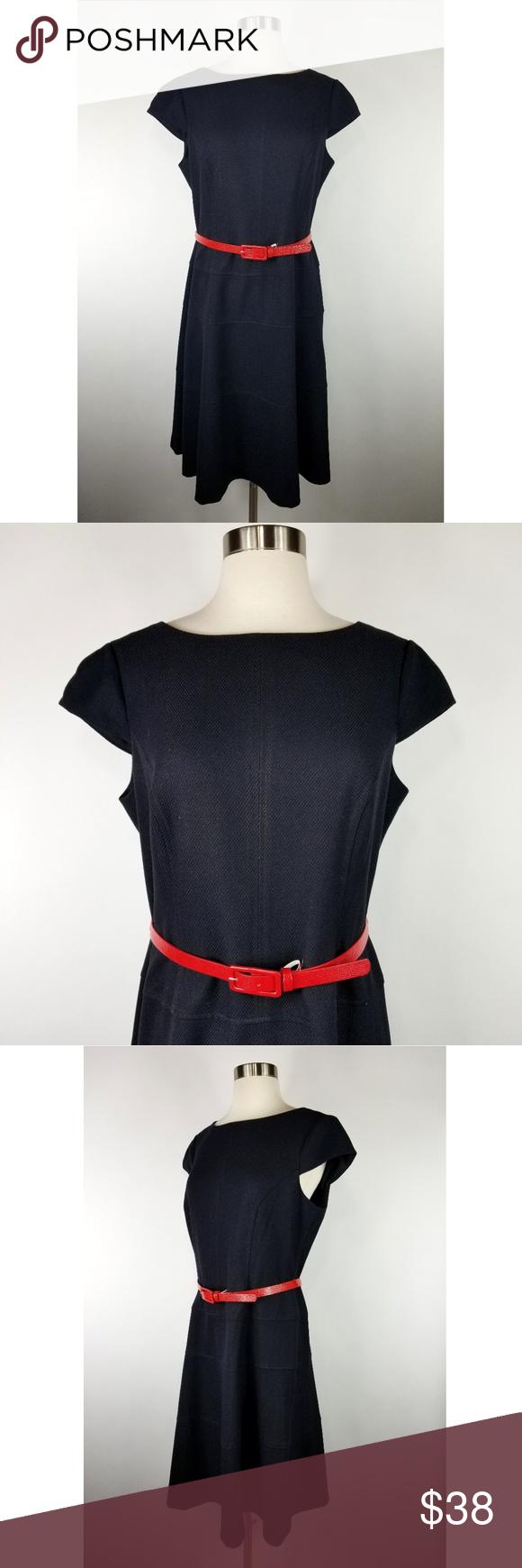Anne klein black fit flare dress red belt red belt fit flare