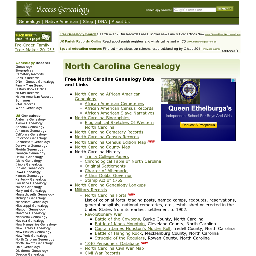 Access Genealogy Free North Carolina Genealogy Data And Links