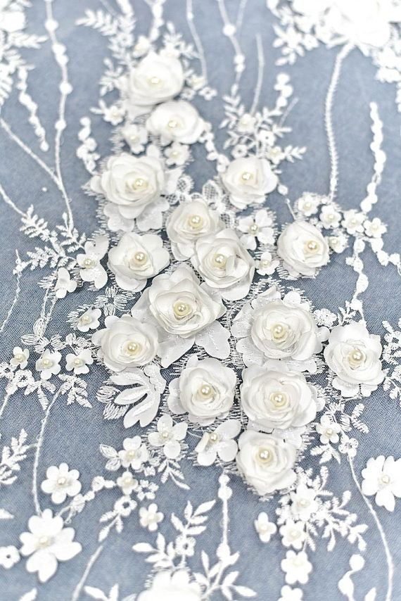 1 Yard 3d Flower Beaded Lace Fabric White Pearl Wedding Dress Lace