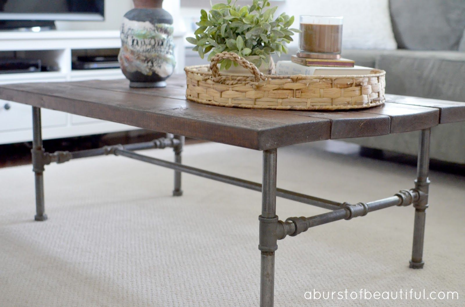 A Burst Of Beautiful: DIY Rustic Industrial Pipe Coffee Table
