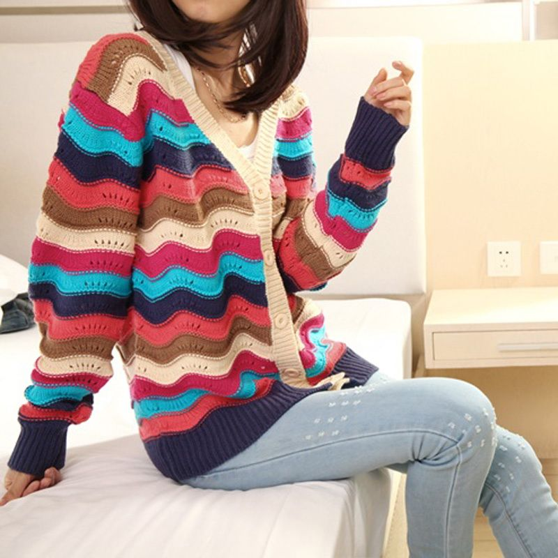 Lovely Colorful Striped Hollow Women's Slim Cardigan Sweater Girl's Single-breasted Long-sleeved Sweater -1