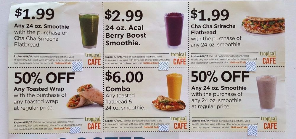 photo relating to Tropical Smoothie Coupons Printable named TROPICAL Smoothie Restaurant Coupon codes Bundle Sheet 6 Discounts Smoothies