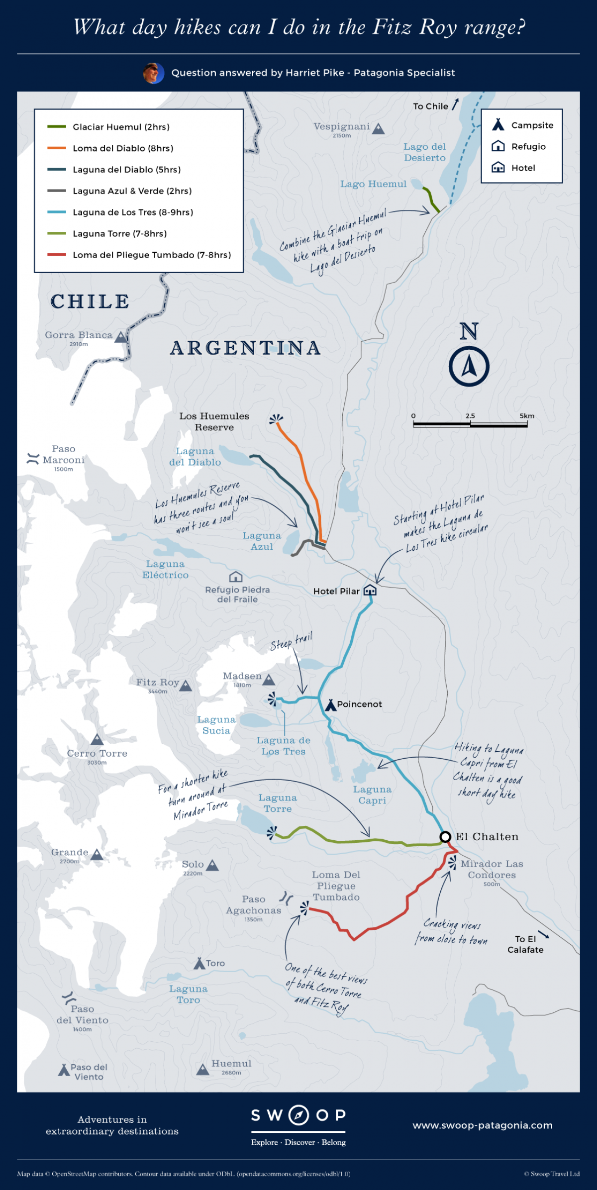 Patagonien Highlights Karte.Map Showing Day Hikes You Can Do In The Fitz Roy Range Patagonia