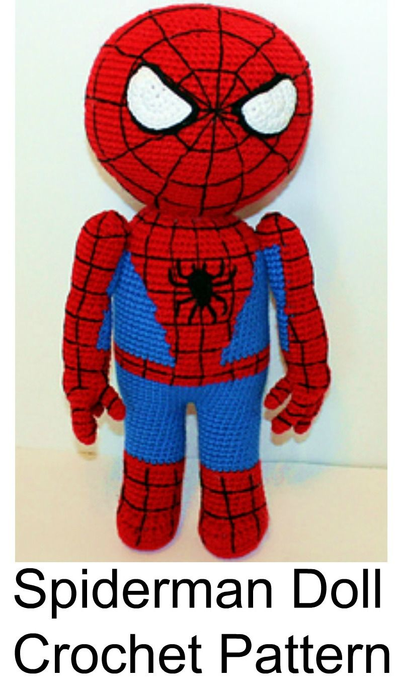 Free Spiderman Crochet Pattern Amigurumi Doll Tutorial | Spiderman ...