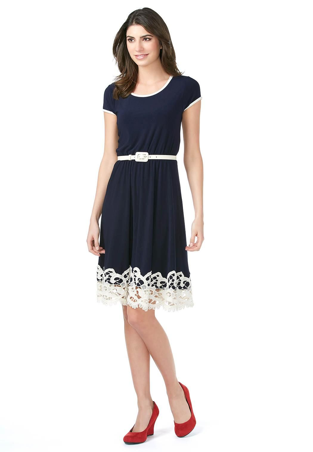 Cato fashions careers - Cap Sleeve Lace Trim Belted Dress Dresses Cato Fashions