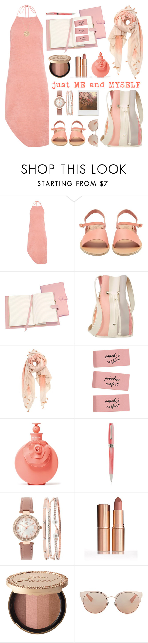 """""""Sweat 🍑"""" by hmytran ❤ liked on Polyvore featuring C/MEO COLLECTIVE, Ancient Greek Sandals, Royce Leather, 10 Crosby Derek Lam, Michael Stars, Valentino, Impossible Project, Montegrappa, INC International Concepts and Too Faced Cosmetics"""