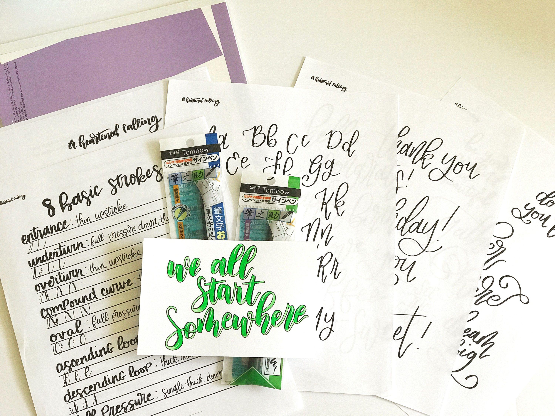 Hand Lettering Lettering Worksheets Lettering Pens