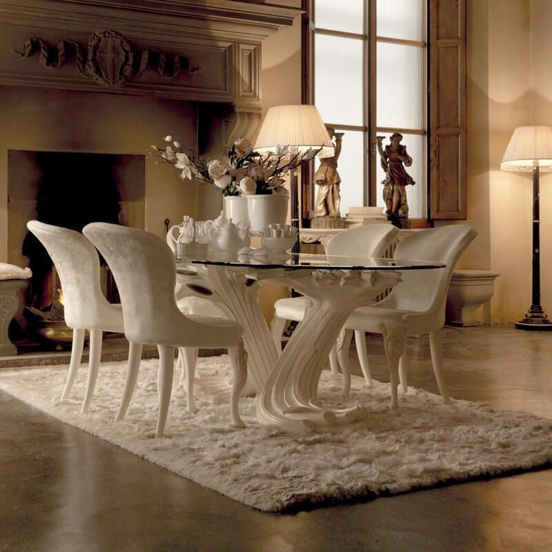 Exclusive Italian Pedestal Large Gl Dining Table Set