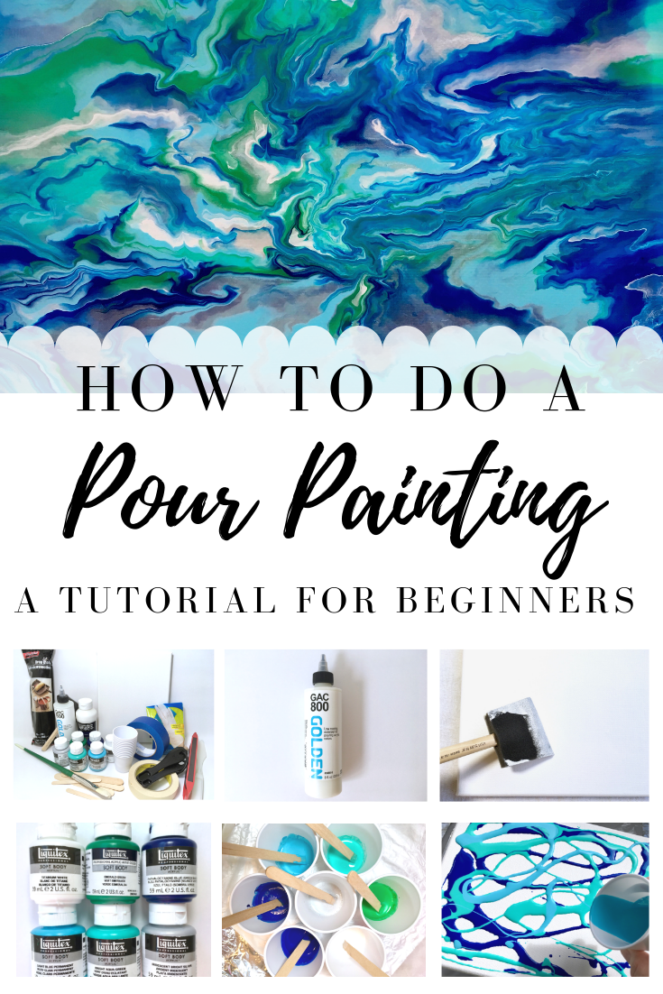 If you'd like to learn how to do a pour painting, this tutorial for beginners will teach you what supplies you'll need, how to prepare a canvas, mix paints, and the steps to create your very own painting. #pourpainting #acrylicpouring #pouring #painting #art