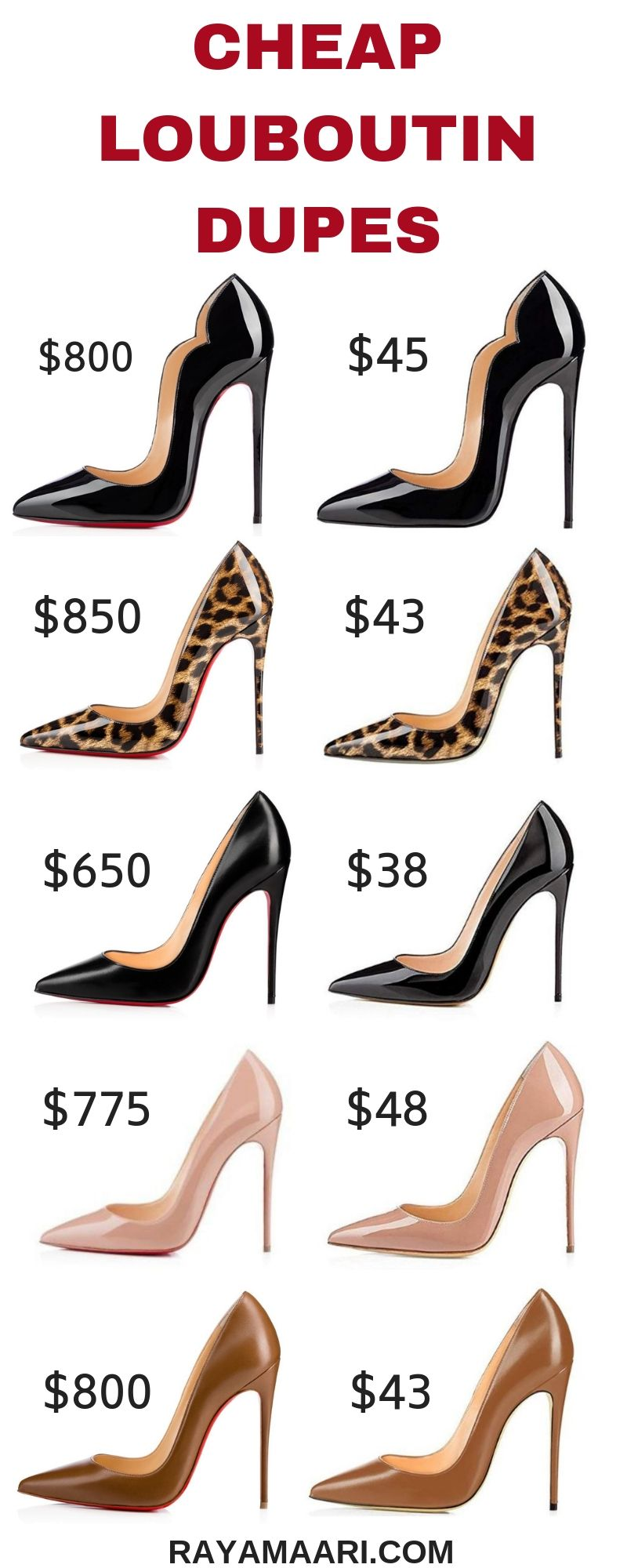 72362ea45 Shop these variety of louboutin dupes without breaking the bank or break  your feet. Finest stiletto heel, set to instantly make a look elegant.