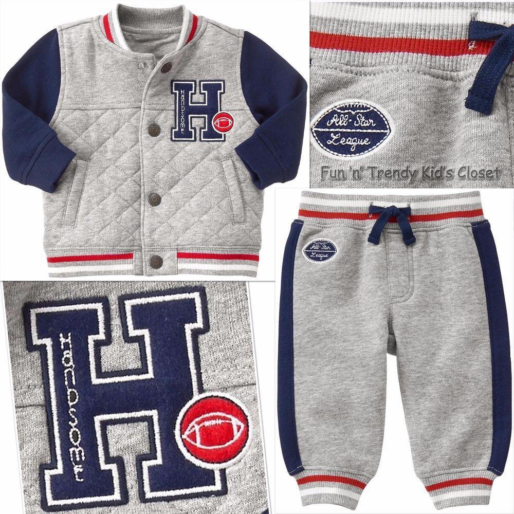 NWT Gymboree PRECIOUS PREP Boys Size 0-3 Months Varsity Jacket /& Joggers 2PC SET