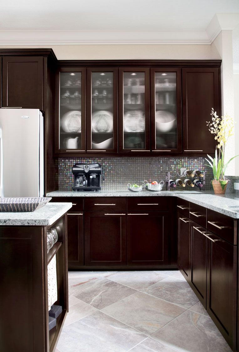 White marble subway backsplash tile countertop espresso cabinet from - My Exact Cabinets Timberlake Tahoe Maple In Espresso
