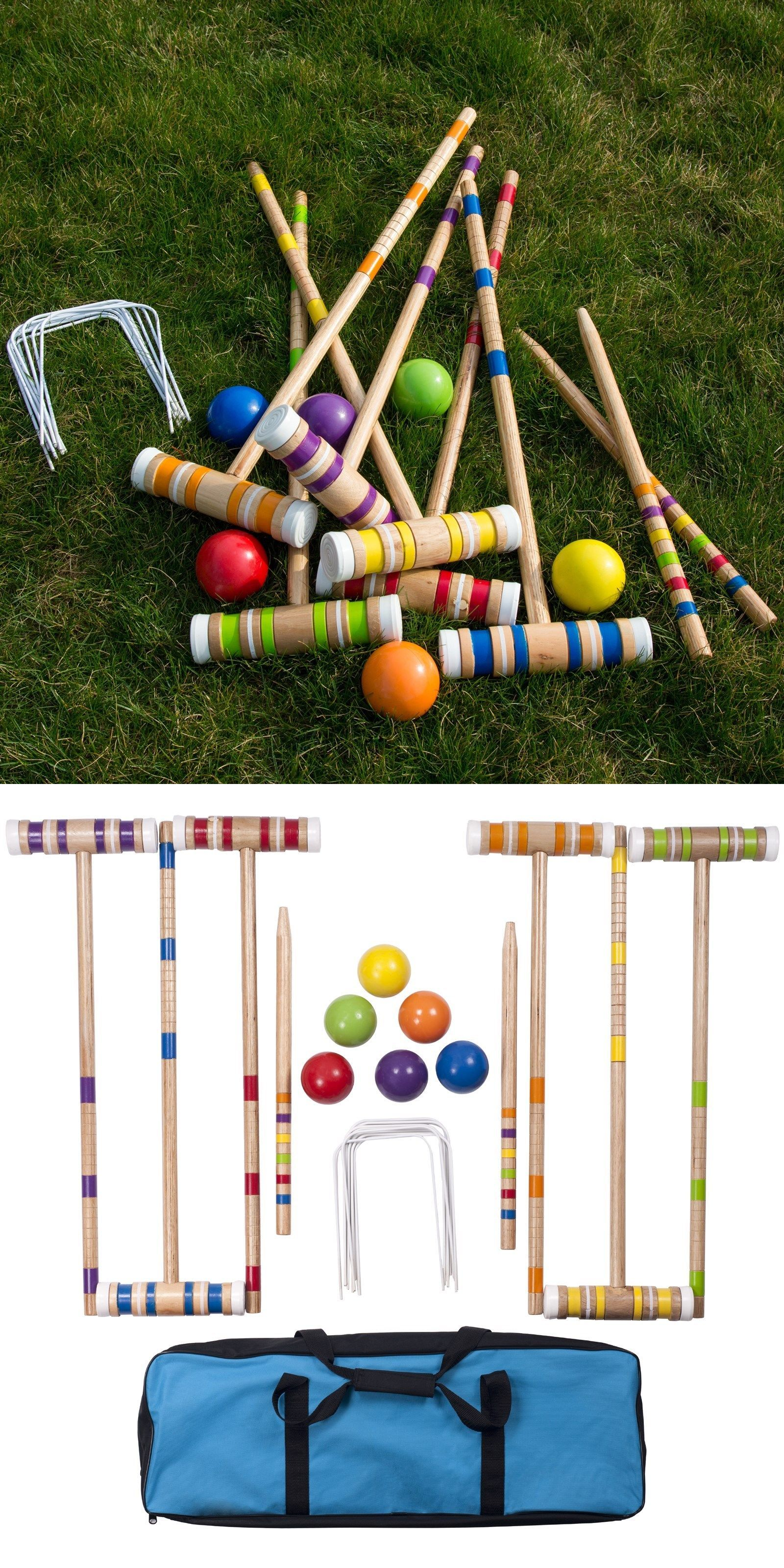 croquet 117210 new vintage forster 6 player croquet set in stand