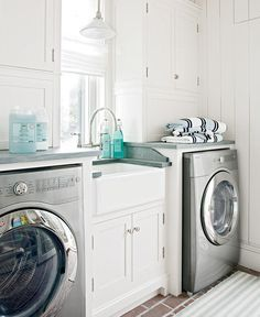 Farmhouse Sink With Storage Between The Washer Dryer I Wouldn T Mind Doing Laundry So Much