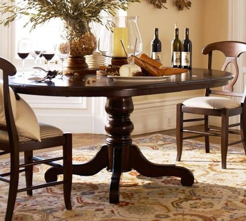 Dark Wood Double Pedestal Dining Table Exquisite Rounded Black Pedestal Dining Table Sets On Rustic Carpets With Tableware And Indoor Plant Decorating ... & Dark Wood Double Pedestal Dining Table: Exquisite Rounded Black ...