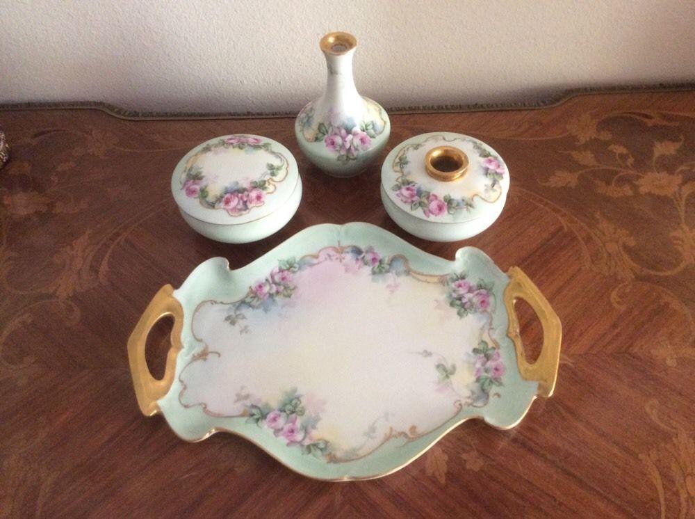 Antique Victorian Limoges Hand Painted Dresser Set, L327 #Victorian #LimogesFranceViennaAustria