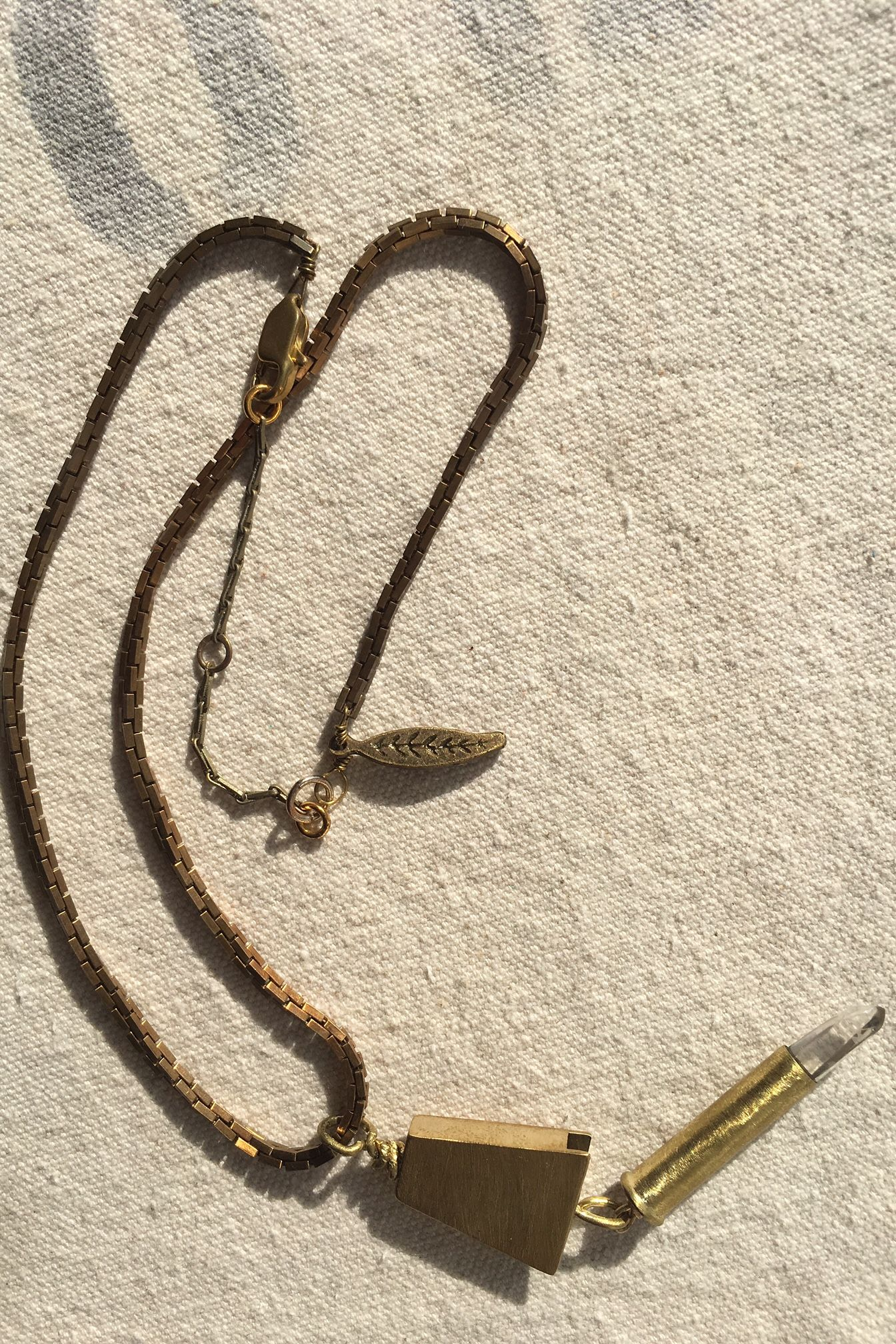 Brass Rhombus With Crystal Sceptre Pendant On Brick Chain Necklace