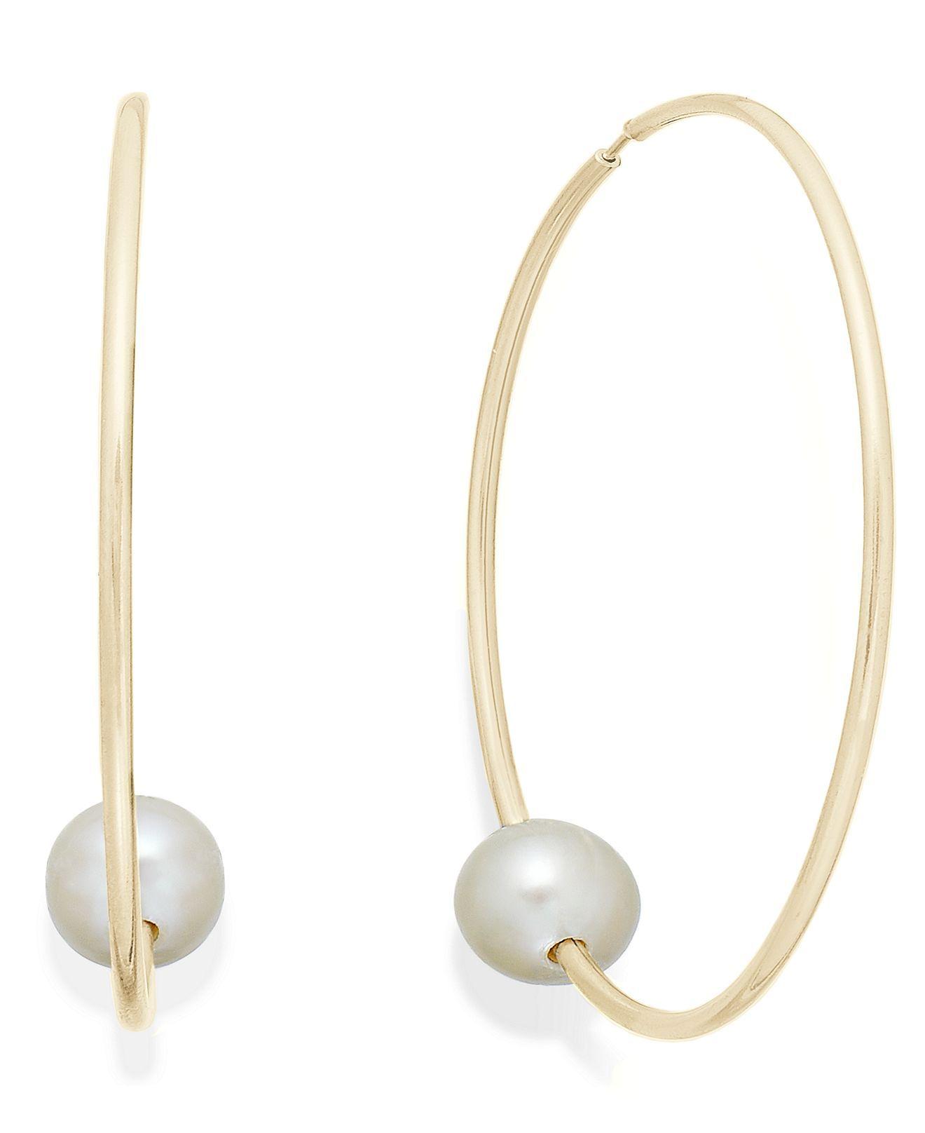pearl earrings 14k gold cultured freshwater pearl hoop