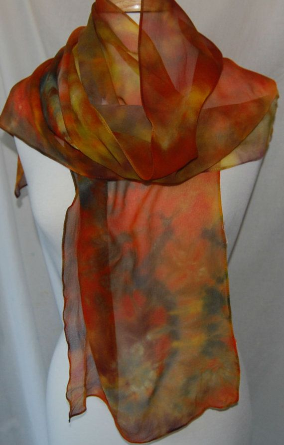 Hand Dyed chiffon Silk Scarf  Hand painted Scarf colors of autumn. by QuirkyConcepts