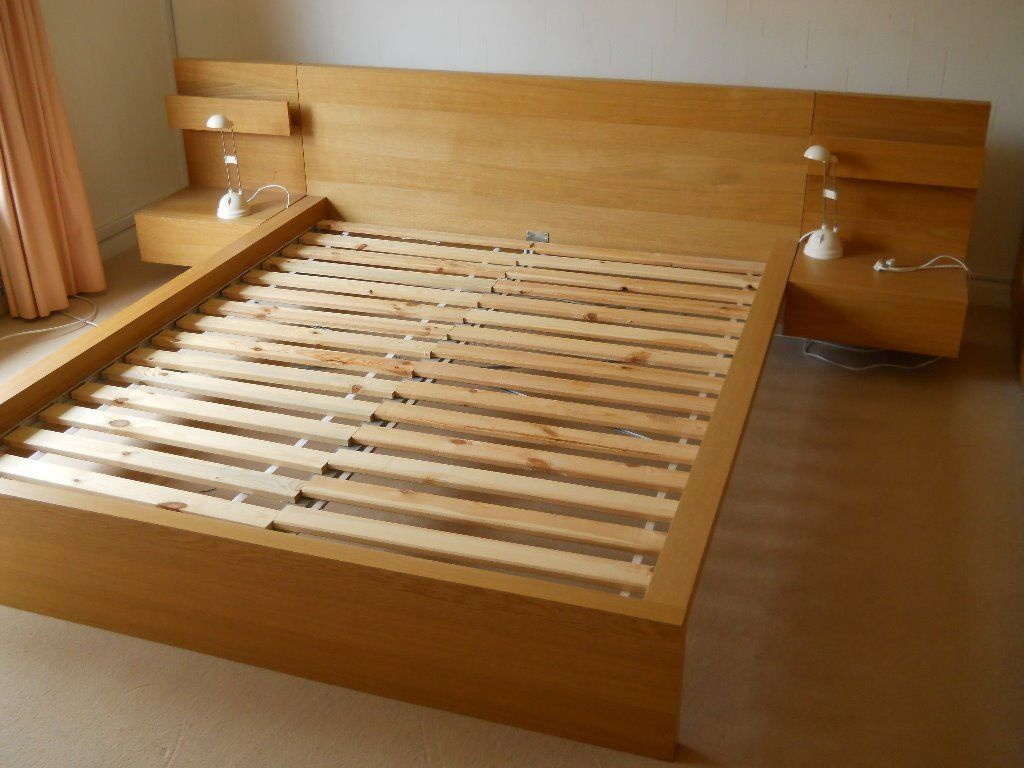 Wooden Malm King Bed Frame Has Unfinished Brown Color On