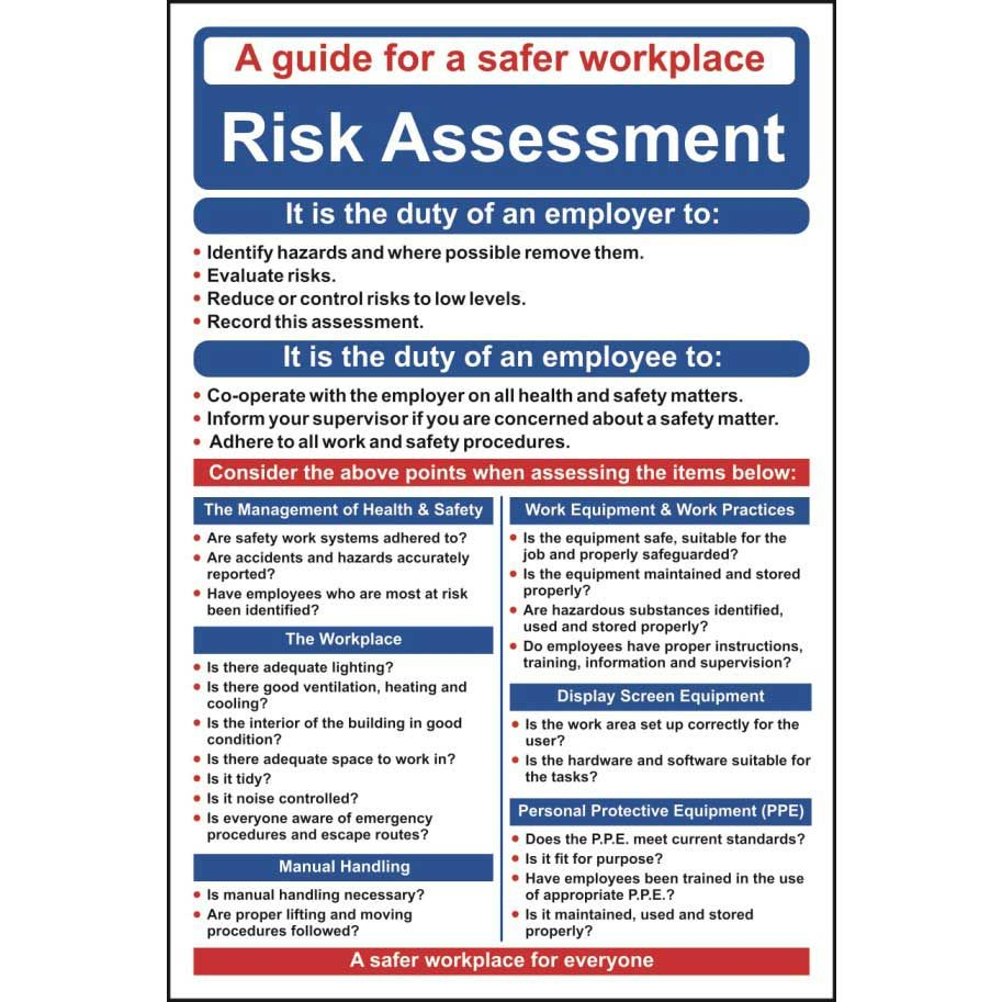 Risk Assessment Poster / Wall Chart Health and safety