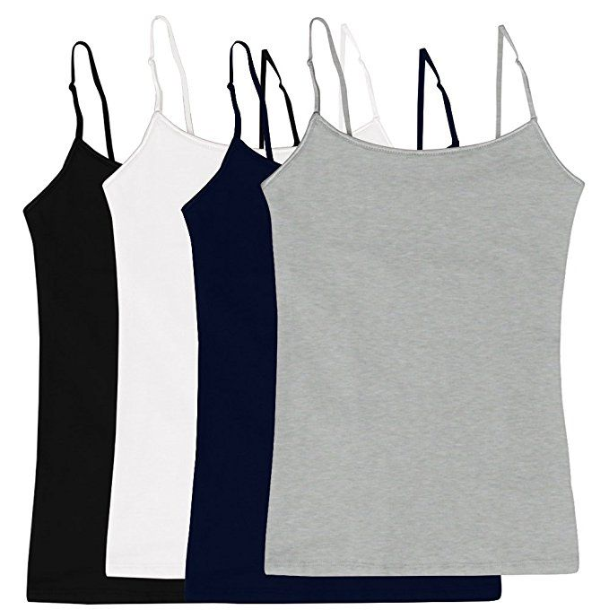 19503d1c17  3.95 Women s Camisole Built-in Shelf Bra Adjustable Spaghetti Straps Tank  Top Pack 4 Pk Black White Navy Heather Grey Medium