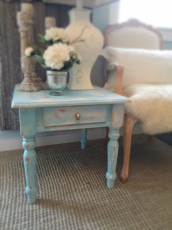 End Table Chippy Paint Aqua Turquoise Blue Rustic Distressed Chalk