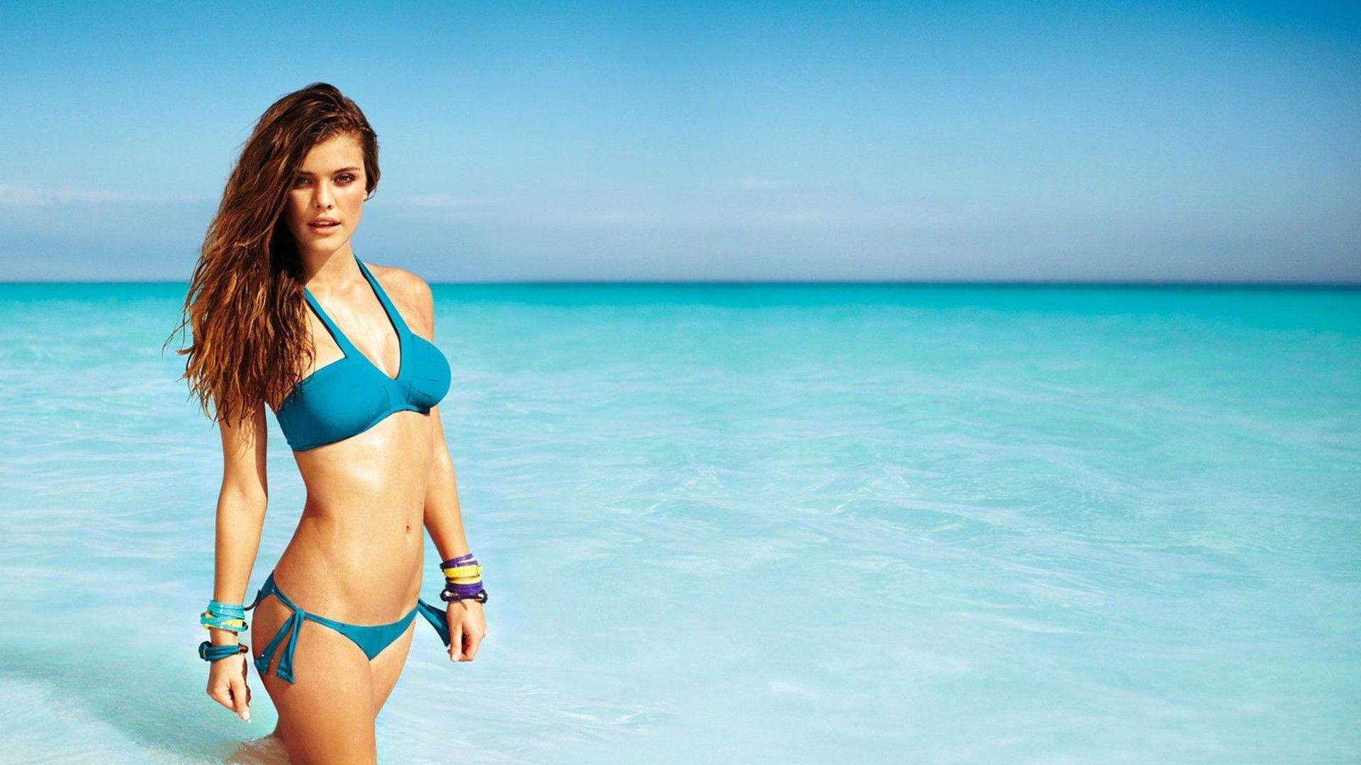 hot beach girl bikini background hd wallpaper