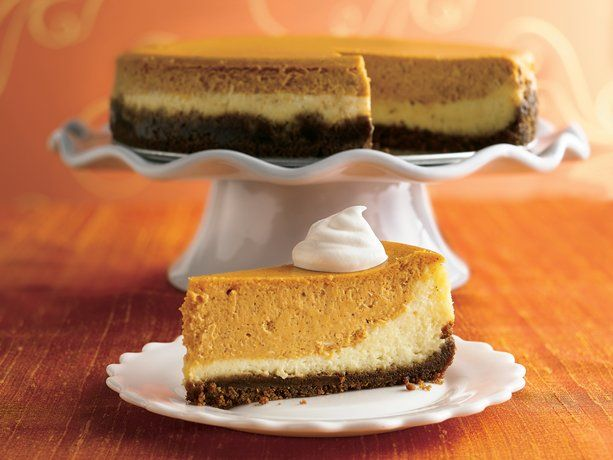 layered pumpkin cheesecake. NOTE TO SELF: my favorite holiday cheesecake. the gingerbread cookie crust is awesome and i love the balance of the two cheesecake flavors.