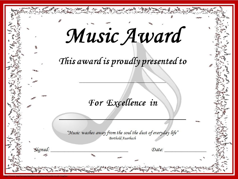 Music awards editable music award certificates for Student of the year award certificate templates