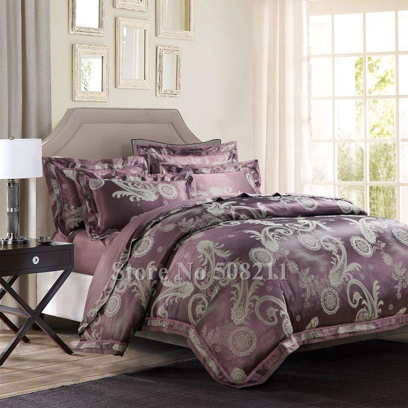 Wholesale Bed Linens Luxurious Modern Dark Purple Flower Pattern
