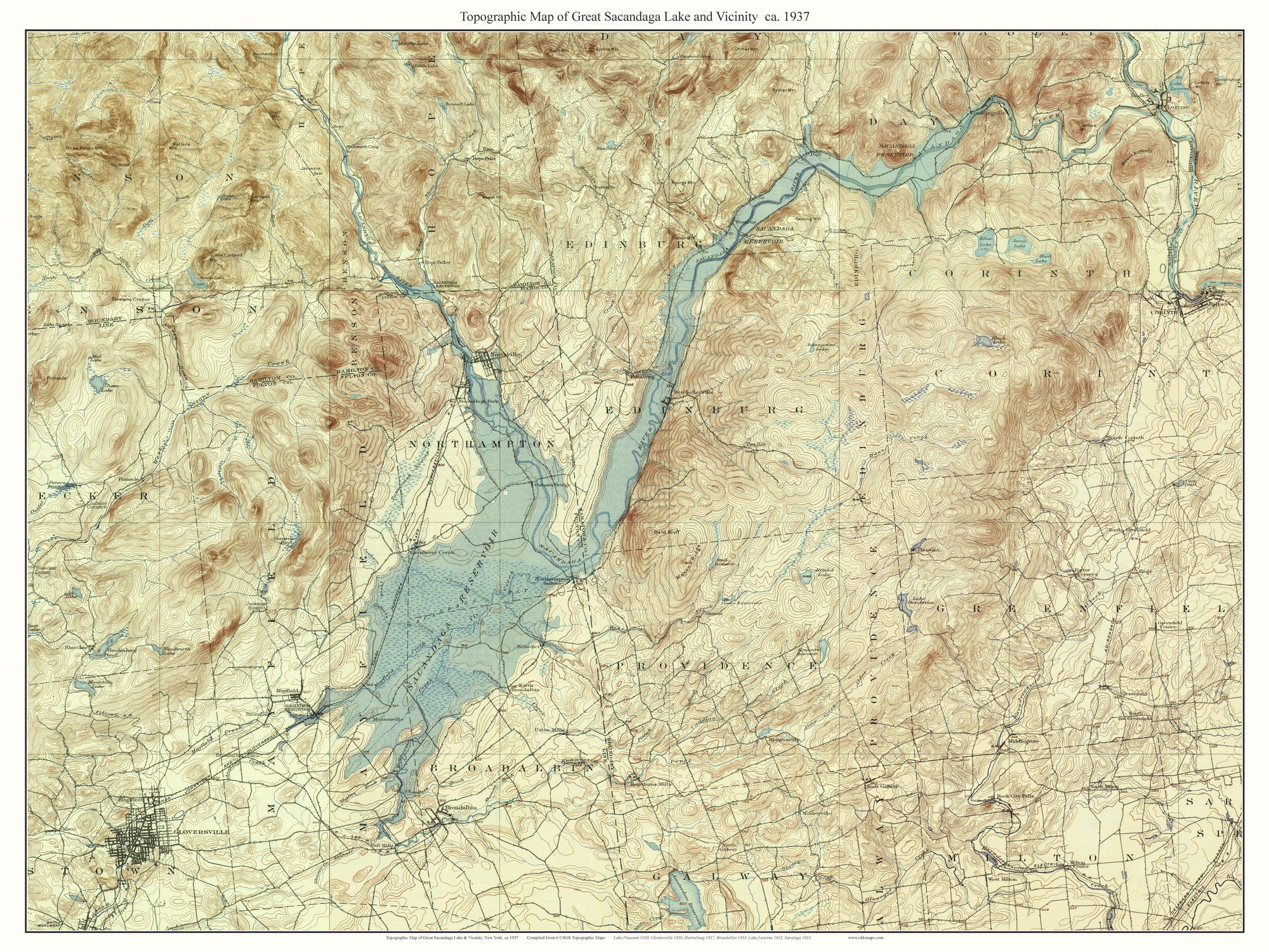Great Sacandaga Lake And Vicinity  USGS Topographic Map - Nyc map topographic