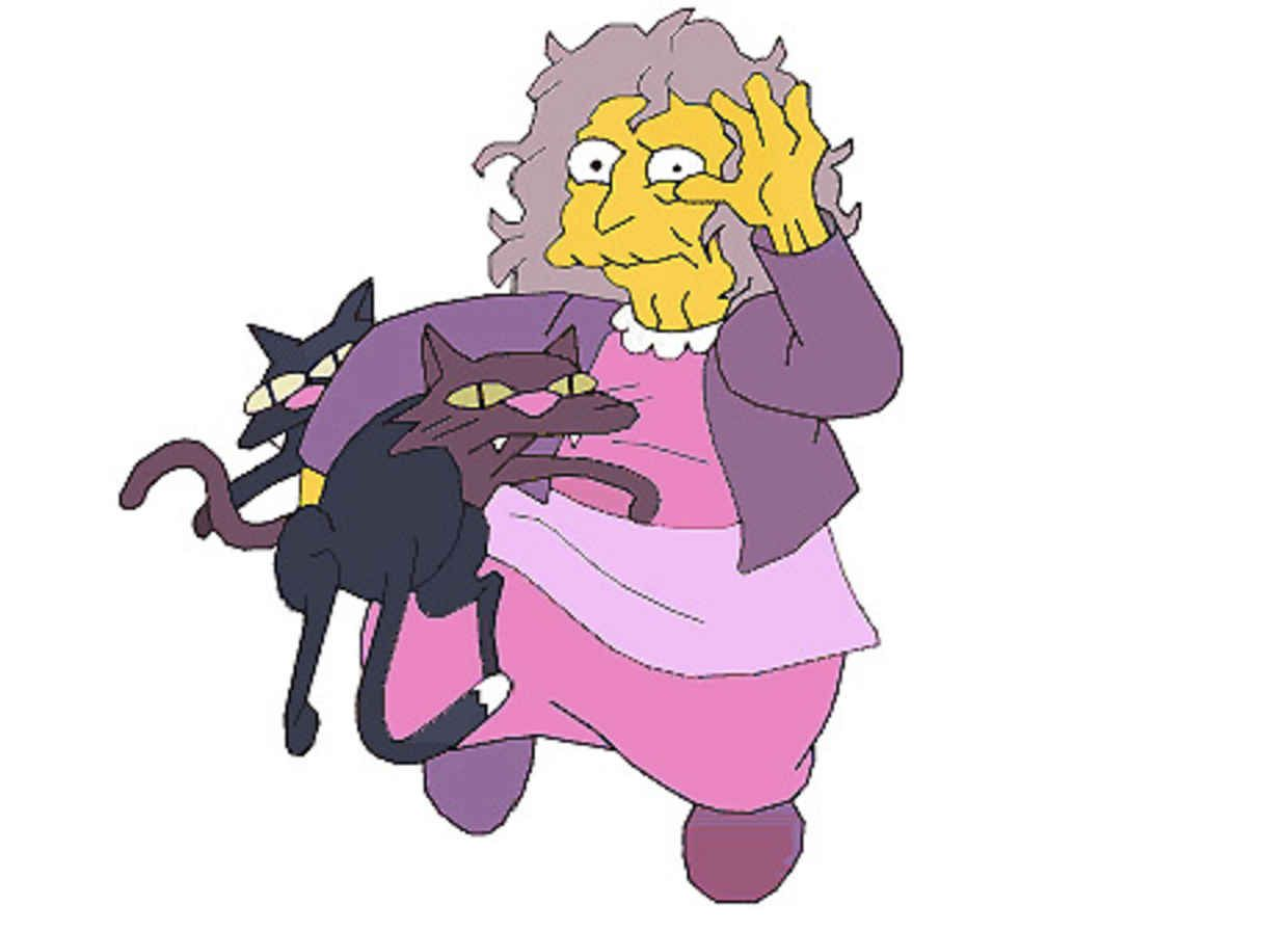 F Is For Frizz Busters Oil Is Nice But Crazy Cat Lady Hair Needs Silicone Crazy Cats Crazy Cat Lady Simpsons Art