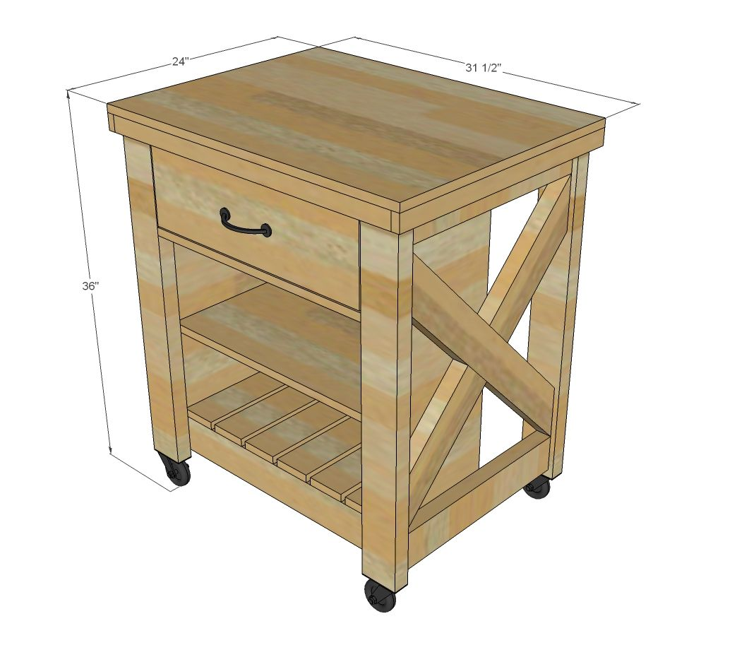 32 Simple Rustic Homemade Kitchen Islands: Build A Rustic X Small Rolling Kitchen Island