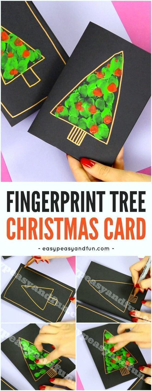 DIY-Fingerabdruck-Weihnachtsbaumkarte, die Papierhandwerk für Kinder macht