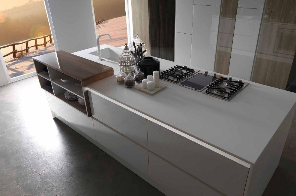 PROMO ISOLA, cucina top corian con incastro legno | Kitchen ...