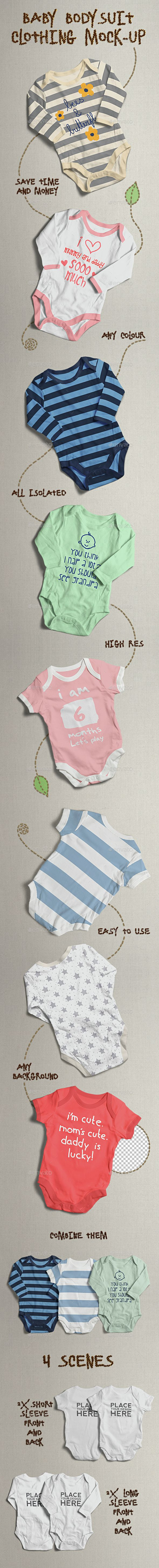 Baby Bodysuit Clothing Mock Up Mock Up