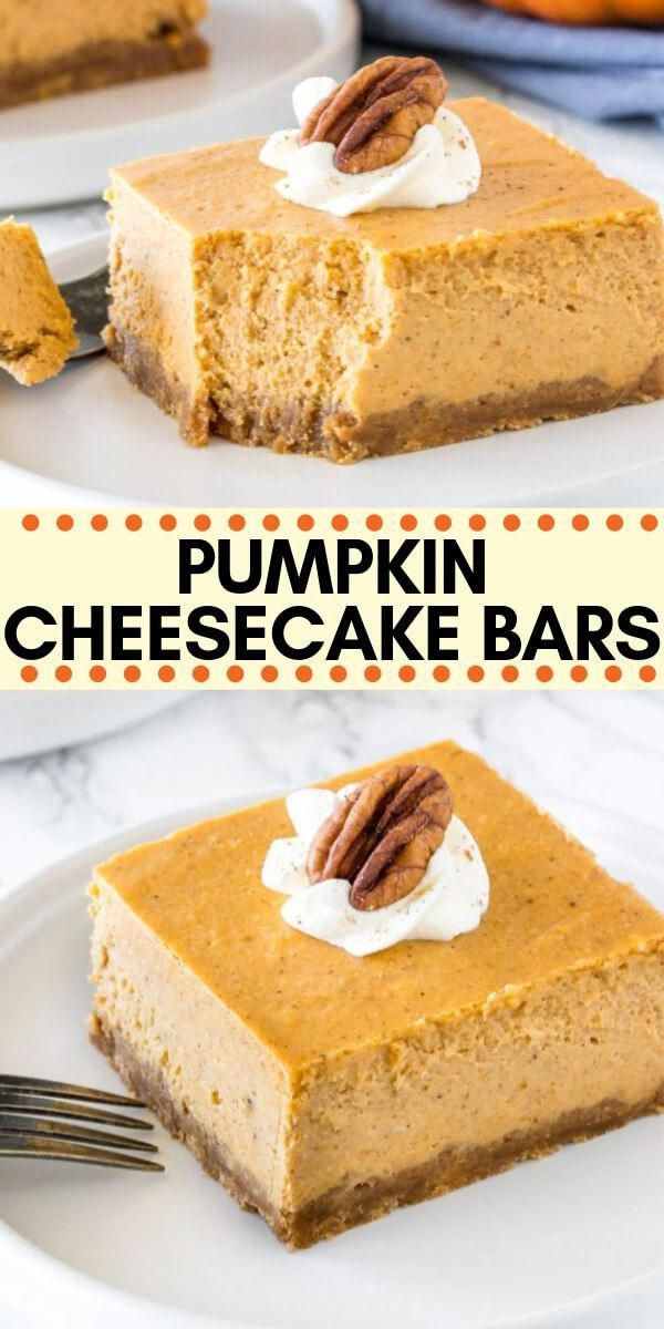 These pumpkin cheesecake bars are smooth, creamy & perfect for fall. With a cinnamon-infused graham cracker crust, pumpkin spice cheesecake layer, and dollop of whipped cream on top - they're seriously delicious. #pumpkincheesecake #cheesecakebars #cheesecake #pumpkin #pumpkinspice #bars #easy #thanksgiving #fall