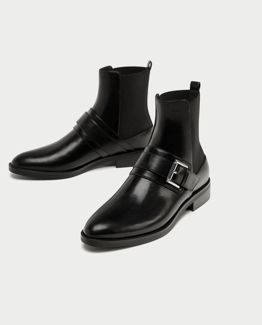 c7a28e1340f Image 5 of FLAT ANKLE BOOTS WITH BUCKLES from Zara