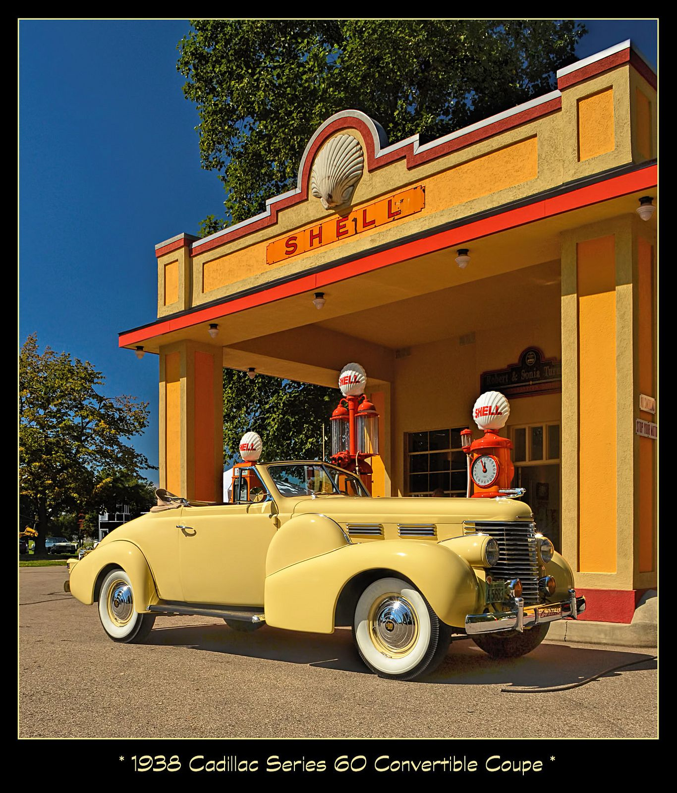 1938 Cadillac Series 60 at the Shell Station