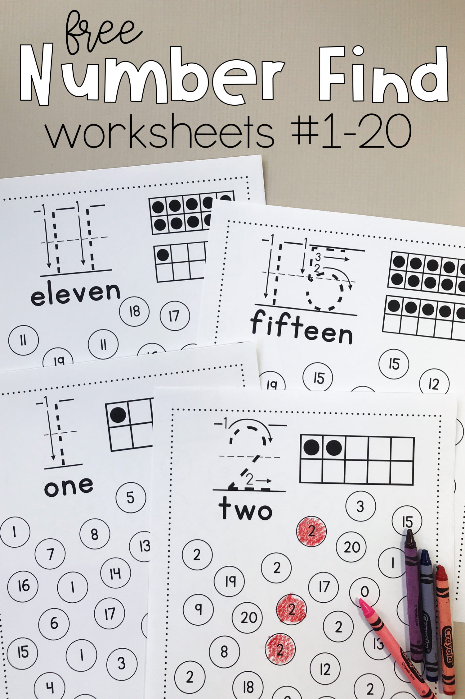 Number Find Worksheets 1 20
