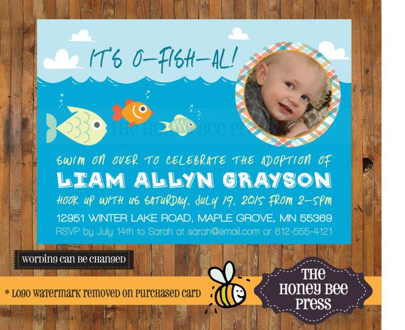 adoption celebration invitation its o fish al adoption announcement by the honey bee press - Adoption Party Invitations