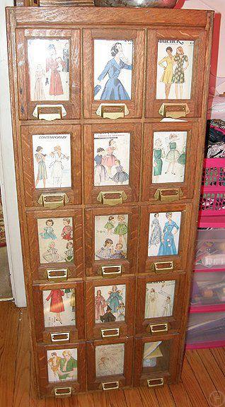 Nice! vintage sewing pattern case / storage / drawers | Craft Room ...