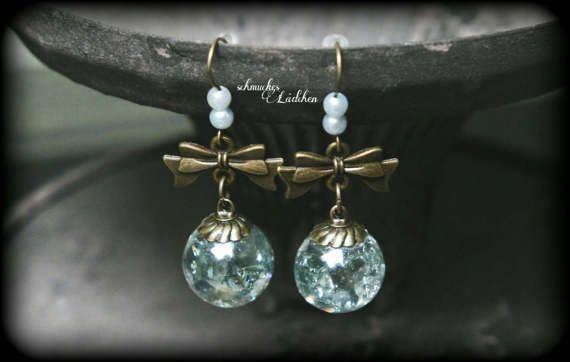 antikbronze Kristallkugel Ohrringe mit Perlen