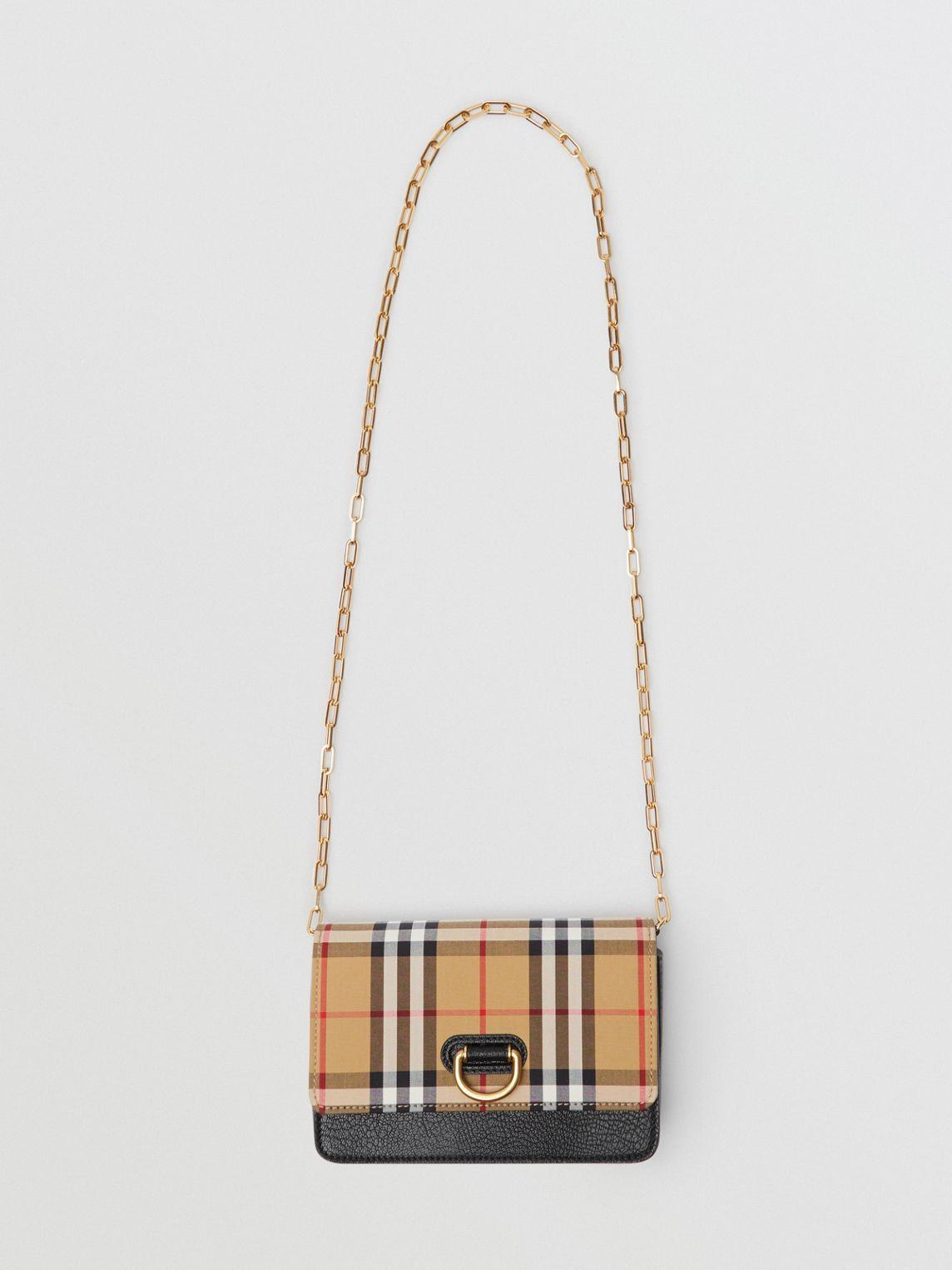 The Mini Vintage Check and Leather D-ring Bag in Black - Women in ... e0fc85d02b0